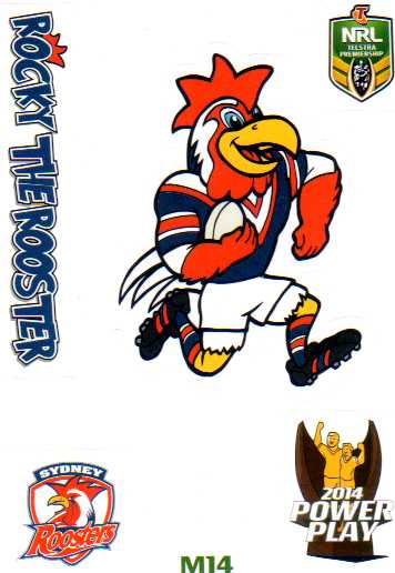 2014 NRL Power Play Mascot Sticker M14 Sydney Roosters