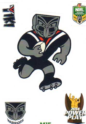 2014 NRL Power Play Mascot Sticker M15 New Zealand Warriors