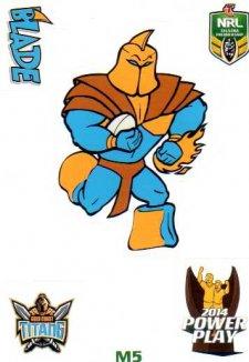 2014 NRL Power Play Mascot Sticker M5 Gold Coast Titans