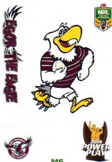 2014 NRL Power Play Mascot Sticker M6 Manly Sea Eagles