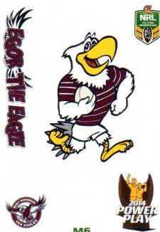 2014 NRL Power Play Mascot Sticker M6 Manly Sea Eagles