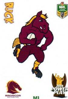 2014 NRL Power Play Mascot Sticker M1 Brisbane Broncos