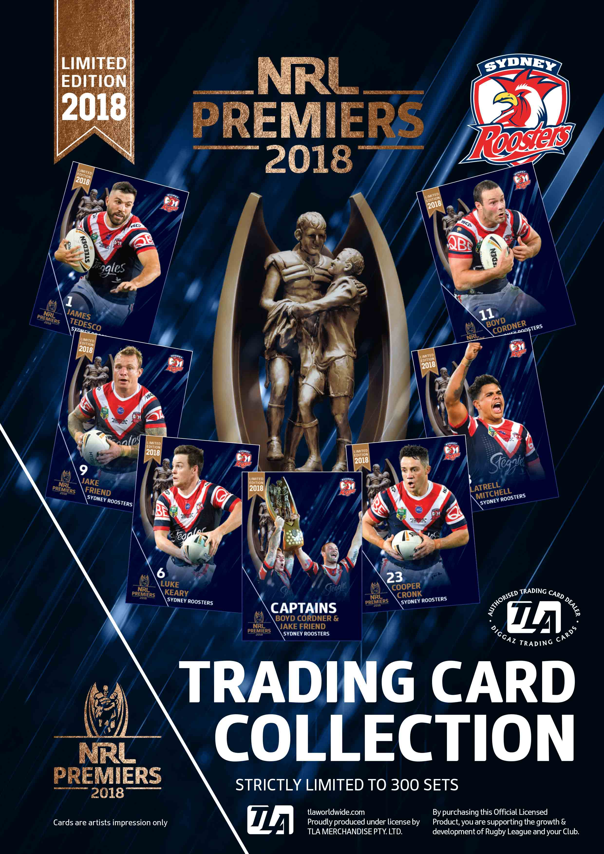 Sydney Roosters Premiership Trading Card Box Set