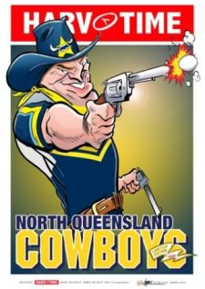NRL Harv Time Mascot A3 Poster North Queensland Cowboys