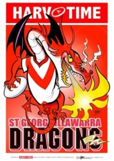 NRL Harv Time Mascot A3 Poster St George Dragons