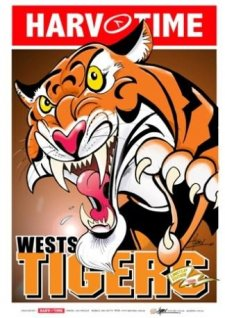 NRL Harv Time Mascot A3 Poster Wests Tigers