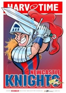 NRL Harv Time Mascot A3 Poster Newcastle Knights