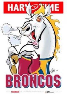 NRL Harv Time Mascot Print A3 Poster Brisbane Broncos