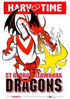 NRL Harv Time Mascot A3 Print Poster St George Dragons