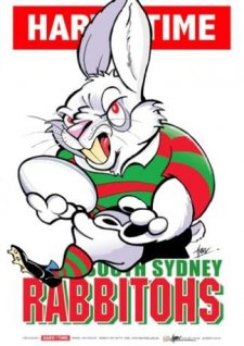 NRL Harv Time Mascot A3 Print Poster South Sydney Rabbitohs