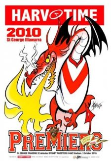 NRL Harv Time 2010 Premiers A3 Poster St George Dragons