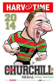 NRL Harv Time 2014 Churchill Medal Winner A3 Poster Sam Burgess Rabbitohs