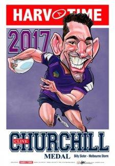 NRL Harv Time 2017 Churchill Medal Winner A3 Poster Billy Slater Storm