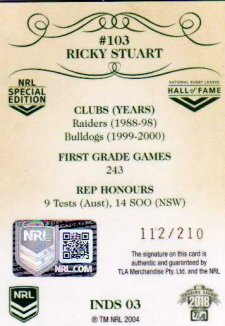 2018 NRL Glory Induction Class Signature INDS3 Ricky Stuart