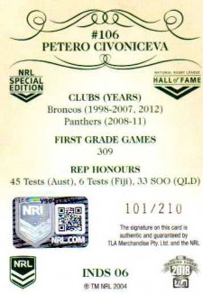 2018 NRL Glory Induction Class Signature INDS6 Petero Civoniceva