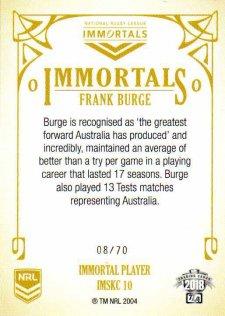 2018 NRL Glory Immortal Sketch Case Card IMSKC10 Frank Burge