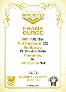 2018 NRL Glory Immortal Photo Case Card IMPC10 Frank Burge