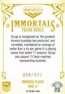 2018 NRL Glory Immortals Sketch IMSK10 Frank Burge