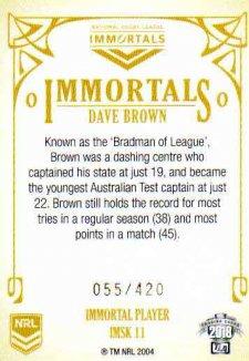 2018 NRL Glory Immortals Sketch IMSK11 Dave Brown