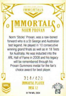2018 NRL Glory Immortals Sketch IMSK12 Norm Provan