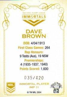 2018 NRL Glory Immortals Photo IMP11 Dave Brown