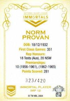 2018 NRL Glory Immortals Photo IMP12 Norm Provan