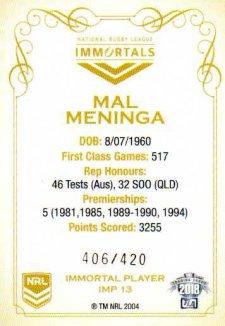 2018 NRL Glory Immortals Photo IMP13 Mal Meninga