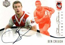 2018 NRL Glory Future Famers Signature FFS11 Ben Creagh Dragons