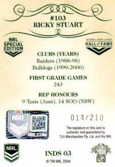 2018 NRL Glory Induction Class Signature INDS3 Ricky Stuart Raiders
