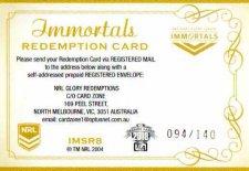2018 NRL Glory Immortals Signature Redemption IMSR Andrew Johns Knights