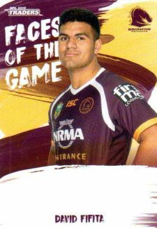 2019 NRL Traders Faces of the Game FG1 David Fifita Broncos