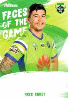 2019 NRL Traders Faces of the Game FG5 Brad Abbey Raiders