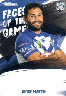 2019 NRL Traders Faces of the Game FG11 Rhyse Martin Bulldogs