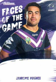 2019 NRL Traders Faces of the Game FG26 Jahrome Hughes Storm