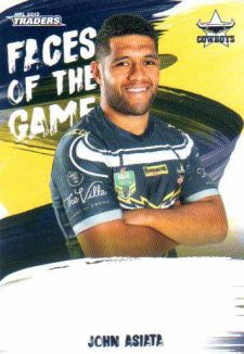2019 NRL Traders Faces of the Game FG33 John Asiata Cowboys