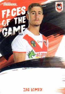 2019 NRL Traders Faces of the Game FG50 Zac Lomax Dragons