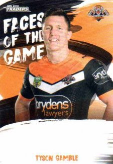 2019 NRL Traders Faces of the Game FG62 Tyson Gamble Tigers