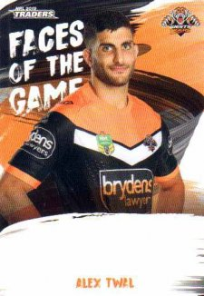 2019 NRL Traders Faces of the Game FG64 Alex Twal Tigers