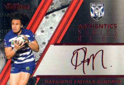 2019 NRL Traders Authentics Ruby Album Card ASR3 Raymond Faitala-Mariner Bulldogs