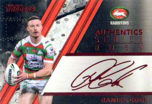 2019 NRL TRADERS Authentic/'s Ruby Signature Card DAMIEN COOK SOUTH SYDNEY ASR12