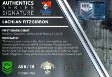 2019 NRL Traders Authentics Signature AS8 Lachlan Fitzgibbon Knights