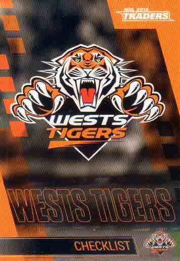 2019 NRL Traders 10-Card Base Team Set Wests Tigers