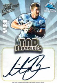 2009 NRL Classic Top Prospects Signature TP4 Mitch Brown Sharks