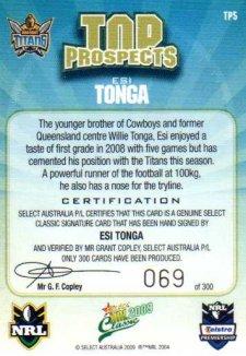 2009 NRL Classic Top Prospects Signature TP5 Esi Tonga Titans