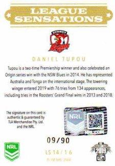 2019 NRL Elite League Sensations Signature LS14 Daniel Tupou Roosters