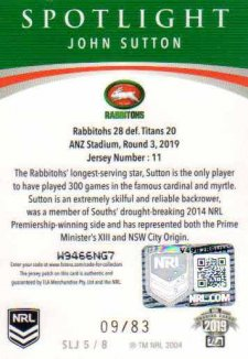 2019 NRL Elite Spotlight Jersey Patch Silver SLJ5 John Sutton Rabbitohs