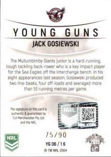 2019 NRL Elite Young Guns Signature YG6 Jack Gosiewski Sea Eagles