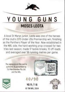 2019 NRL Elite Young Guns Signature YG11 Moses Leota Panthers