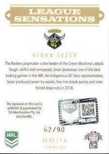 2019 NRL Elite League Sensations Signature LS2 Aiden Sezer Raiders