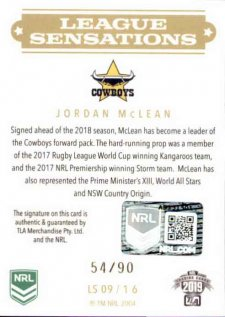 2019 NRL Elite League Sensations Signature LS9 Jordan McLean Cowboys